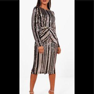 Boohoo Midi Sequin Dress